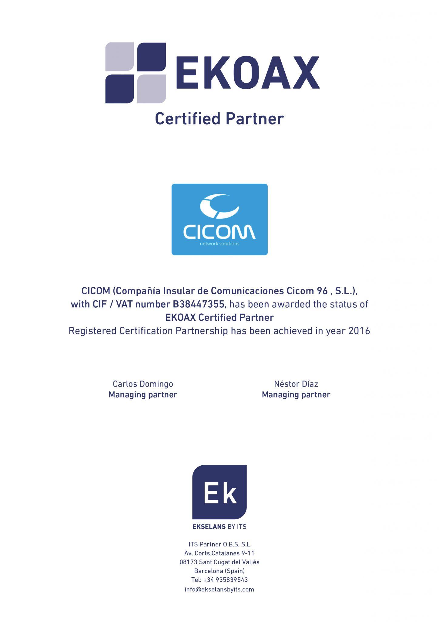 certificado EK CICOM