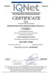 Certificado Sistema Gestion Calidad ISO 9001 IQNet
